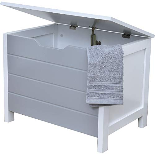 Baúl de almacenamiento, cofre de ropa en madera - Estilo moderno - Color BLANCO y GRIS