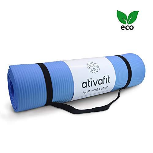 ATIVAFIT Tappetino Grande per Yoga, Allenamento e Pilates, con Imbottitura Ultra Spessa da 183mm * 61mm * 10 mm, Antiscivolo (Blu)