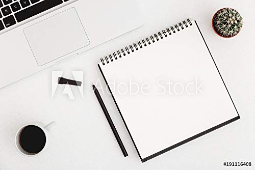 druck-shop24 Wunschmotiv: White Office Desk with blank Spiral Notebook, Pen, Cup of Coffee and a Cactus. Flat Lay #191116408 - Bild als Klebe-Folie - 3:2-60 x 40 cm / 40 x 60 cm (Lay Flat Notebook)