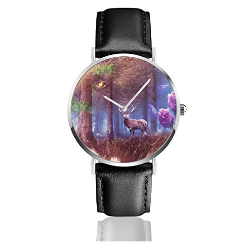 Abstrakte Hirsch-Wald Grizzly Bear Medusa Eule Storch Quarzuhr Edelstahl Klassisch Casual Lederband Uhren