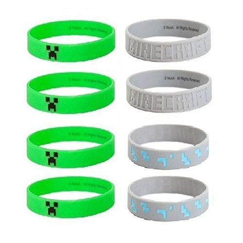 MINECRAFT Silicone Bracelet Lot 24 Bracelets Party Favors Creeper Diamond Ore