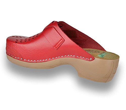 LEON PU161 Sabots Mules Chaussons Chaussures en Cuir Femme Dames Rouge