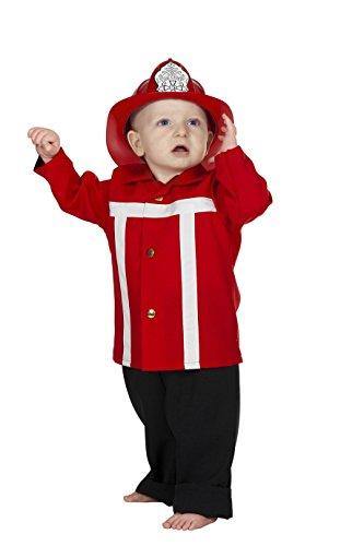 Rot Kleinkind Kostüm Feuerwehrmann - Jannes - Kinder-Kostüm Feuerwehrmann, rot, Kleinkinder 92