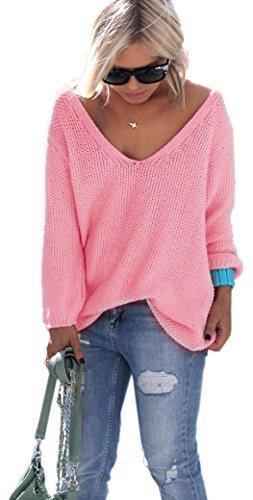Primaverile Maglia da donna disponibile in tanti belli colori 40/42/44 Taglia Unica (617) Rosa
