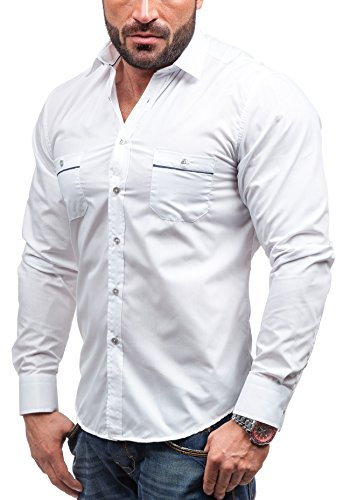 BOLF - Chemise casual - à manches longues – BOLF 5792 - Homme Blanc