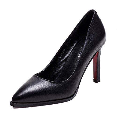 g Echtes Leder Schwarz Sexy Pumps High Heels Spitze Nähe Toe Hochzeit Court Schuhe,Black8.5CM-EU:34/UK:2 (Sexy Nähe)