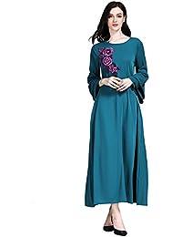 Moresave Vestidos de las mujeres musulmanas Flor Vestido de bata larga casual Ropa islámica para mujeres