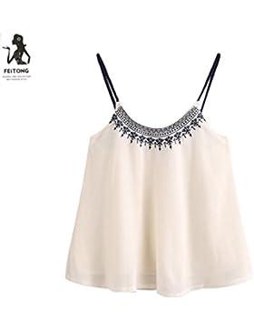 Mujer Camiseta,❤️Ba Zha Hei Mujer ropa Color puro La Sin respaldo transpirable Atractivas hueco Moda Hombro Frío...