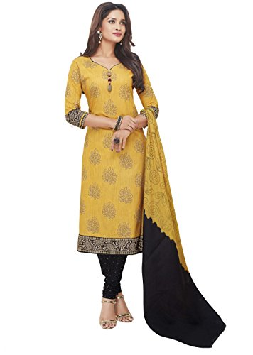 Miraan Women\'s Cotton Dress Material (San2121_Yellow_Free Size)