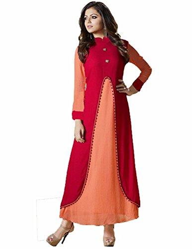Clothfab Women's Heavy Reyon Designer Bollywood Pary Wear Anarkali Style Kurti (Size-XL)