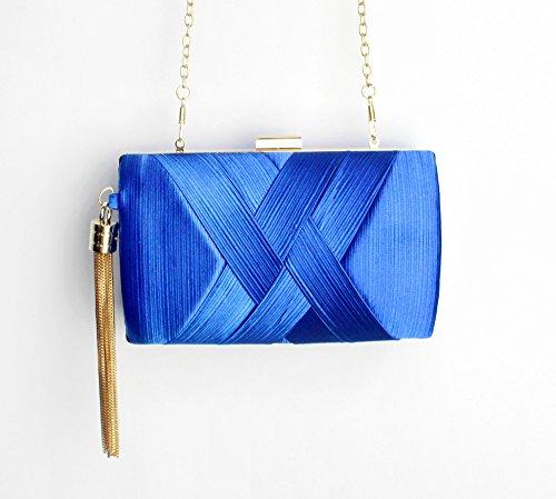 Diy Family®Borse per la cena, borse di vestito, handmade nappe ciondolo borse, borse a mano di seta, Abito da sera borsetta,borse Fashion Street donna Blu