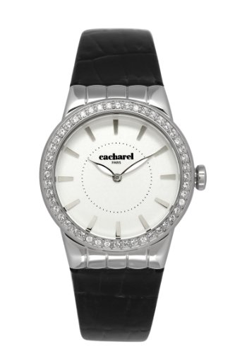 Cacharel CLD/BA - 010S Women's Watch Analogue Quartz White Dial Black Leather Strap