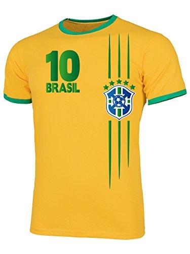 Brasilien 3368 Fussball Fanshirt Fan Shirt Tshirt Fanartikel Artikel Männer Herren Ringer T-Shirts Gelb Grün L