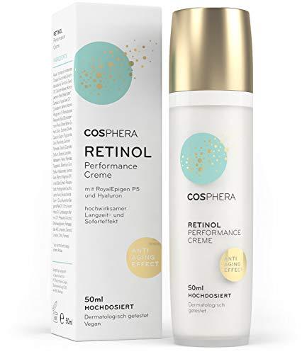 Cosphera - Retinol Performance Creme 50 ml - mit Hyaluronsäure - vegane Tages- und Nachtcreme hochdosiert für Gesicht, Hals, Augen - Anti-Falten Feuchtigkeitsbehandlung für Frauen und Männer -