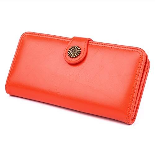 XUDSJ Portafoglio donna con cinturino ultra-sottile multi-card borsa for cellulare borsa lunga in pelle cerata con olio (Color : Orange, Size : One size)