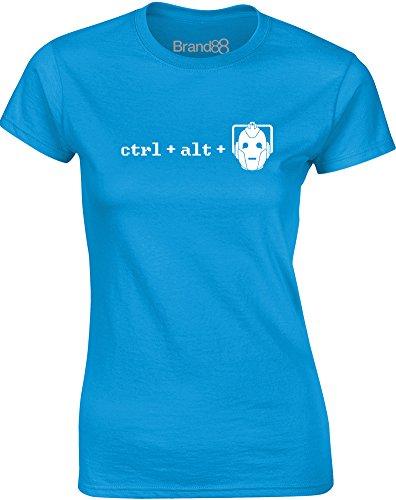 Brand88 - Ctrl + Alt + Del, Gedruckt Frauen T-Shirt Türkis/Weiß