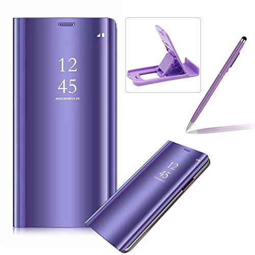 Coque Galaxy S9 Clapet, Herzzer Housse Étui en PU Cuir Luxe Placage Technologie avec Transparente Miroir Design Bumper Dur PC Backcover Protector Fonction Stand pour Samsung Galaxy S9 - Violet