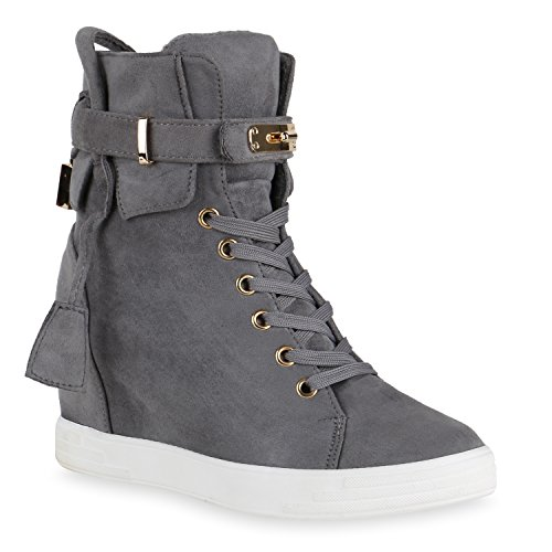 Sneaker-Wedges Damen 90's Style Metallic Turnschuhe Keil Absatz Grau