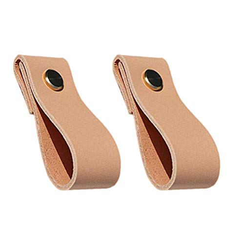 Yardwe 2 piezas de muebles de cuero manija de la puerta perillas de la puerta del gabinete cajón lazo...