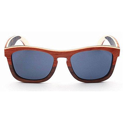 Yiph-Sunglass Sonnenbrillen Mode Herren Sonnenbrille Retro Doppelte Farbe Rahmen Polarisierte Holz Sonnenbrille Handgemachte TAC Dark Lens UV Schutz Fahren Strand Sonnenbrillen