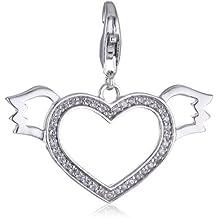 Esprit Damen-Charm 925 Sterling Silber rhodiniert Kristall Zirkonia Lovely Angel Xl weiß ESCH90878A000