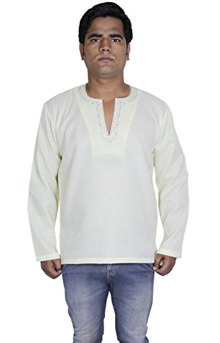 Mens cotone ricamato camicia kurta casuale solido manica lunga camicia yoga -XL