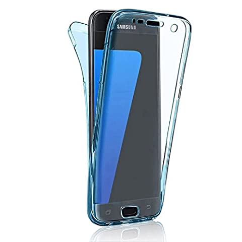 Galaxy S4 Case, Samsung S4 Cover, Sunroyal 360 Degree All Round Front and Back Full Body Protective TPU Clear Rubber Transparent Design Gel Soft Non-slip Shockproof Case Cover for Samsung Galaxy S4 I9500 - Blue