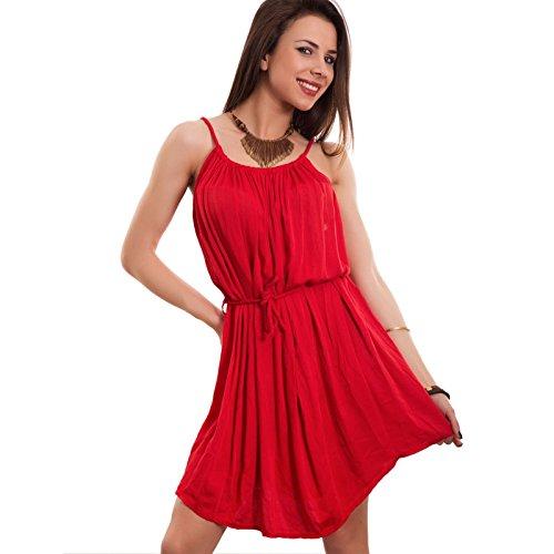 Toocool - Vestito donna miniabito copricostume abito corto corda ampio nuovo CJ-1499 Rosso