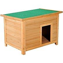 Caseta para Perro 85 x 58 x 58cm Madera Impermeable con Tejado Verde Abatible y 4 Pies Antideslizantes