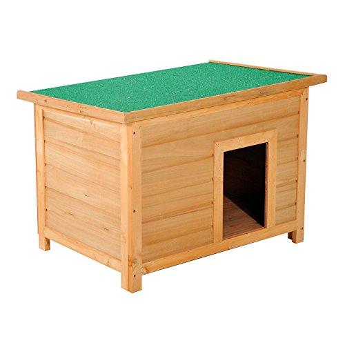 Caseta para Perro 85 x 58 x 58cm Madera Impermeable con Tejado Verde A
