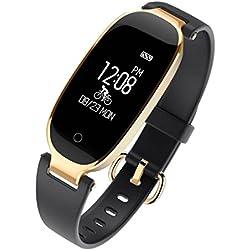 Laurelmartina Reloj de Pulsera Impermeable LEMFO S3 Bluetooth 4.0 Reloj Inteligente con Monitor de frecuencia cardíaca (Color: Negro y Dorado)