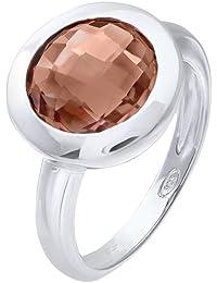 Citerna Rhodium Plated Silver Classic Round Smoky Quartz Stone Ring