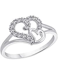 Peora Lovely Heart Rhodium Plated Cubic Zirconia AD Studded Silver Finger Ring For Women Girls