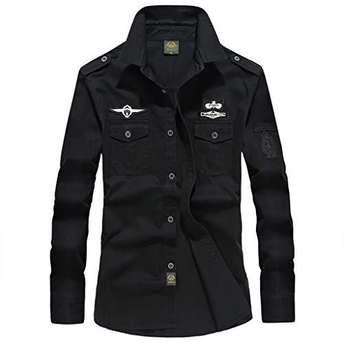 Makefortune Beiläufige Lange Hülsen-Hemden der Männer Armee-Militärart-Fracht-Taktische Arbeitshemd-Knopf-unten Hemden BRITISCHE Größe M-6XL
