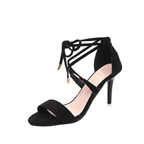 Damen Sandalen Stöckelschuhe 2018 Xinantime Mode Kreuzgurte Ankle High Heels Block Party Offene Spitze Schuhe Frauen 9cm Schwarz/Gelb 35-40 (EU 39, Schwarz)