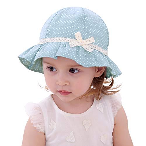 ANIMQUE Baby Mädchen Sonnenhut Sommer Dünn Fischerhut Baumwolle Kleine Polka Spitze Schleife Dekor UV Schutz Outdoor Kinderhut Grün-Blau, Kopfumfang 52cm XL (Outdoor-baby-dekor)