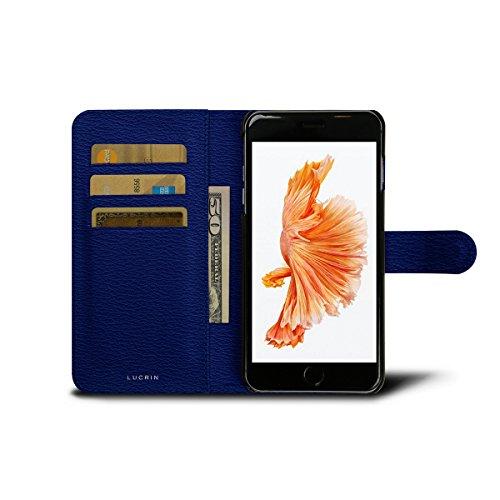 Lucrin - iPhone 6 Plus-Hülle im Brieftaschenformat - Schwarz - Ziegenleder Azurblau