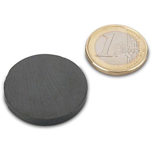 Scheibenmagnet Ø 30,0 x 4,0 mm Y35 Ferrit - hält 800 g, Magnetscheibe, Bastelmagnet Scheibe