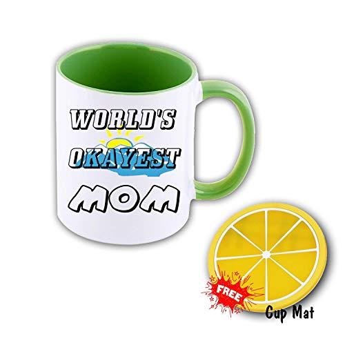 World's Okayest MOM 11 oz Mug Inside The Color Cup Color Changing Cup, The Best Gift Cup, Birthday Present.Multiple Colors to Choose from