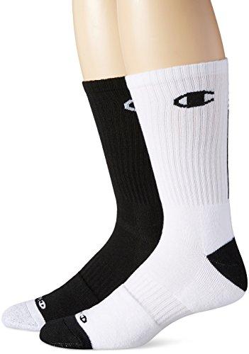 Champion Men???s Basketball Crew Socks 2-Pack 10-13 Assorted (2 Crew Sock Pack Basketball)