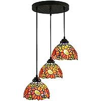 Gweat 8 pollici moderno stile semplice Paese Girasole Tiffany luce del pendente Soggiorno Ristorante Veranda Sala Lamp-3 luci