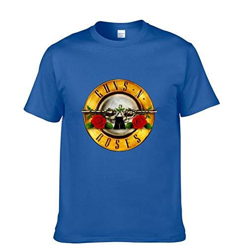 JJZHY Rock Guns N \'Roses Kurzarm T-Shirt Herren GNR Band Lässige Baumwolle Kurzes T-Shirt,Blau,M