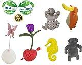 Juego de 6 infusores de té de silicona con colador, respetuosos con el medio ambiente, bonitos diseños de mariposa, rosa, caballito de mar, perezoso y ornitorrinco, regalo para los amantes del té