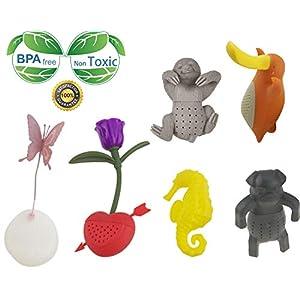creative cute Animal eco-friendly silicone infusore tè colino set di 6pezzi farfalla rose Seahorse Bradypod brady-pod Platypus Pug Tea Steeper Tea lover' S Gift