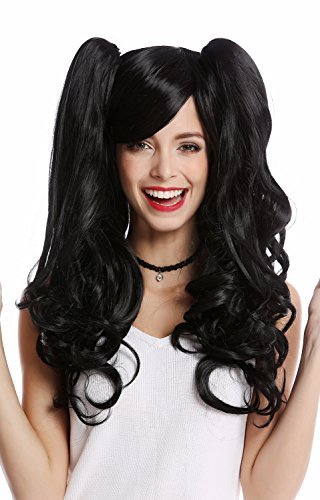 WIG ME UP - YZF-4379-1 Perücke Damenperücke Cosplay 2 abnehmbare Zöpfe lang wellig Gothic Lolita schwarz