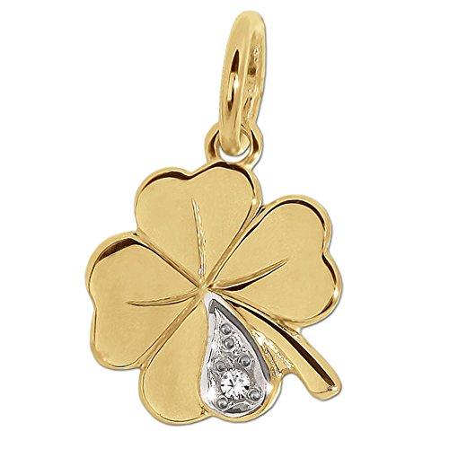 CLEVER SCHMUCK Goldener sehr Kleiner Damen Anhänger 10 mm 4-blättriges Mini Kleeblatt Bicolor mit Zirkonia glänzend 333 Gold 8 Karat
