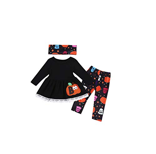 Pageantry Kleidung Set Baby Mädchen Baumwolle T-Shirt Rock+Hose Outfits Mit Stirnband Halloween Drucken Bodysuit Outfits Set Langarm O-Ausschnitt Lose Kleidung Prinzessin Kleider