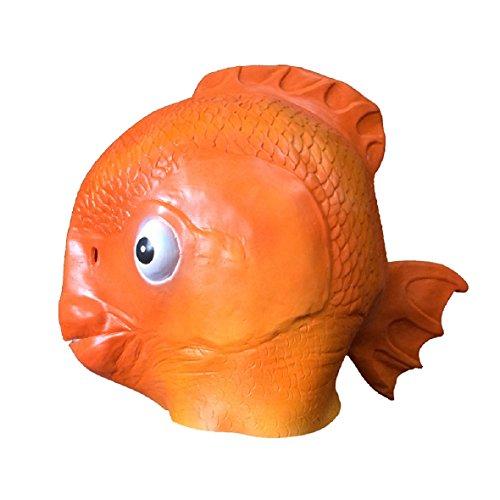 DylunSky Halloween Goldfisch Maske Krake Latex Maske Horror Dinosaurier/Krokodil/Eidechse/Delphine Maske (Goldfisch)
