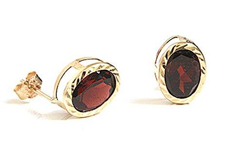 9ct-gold-oval-garnet-diamond-cut-stud-earrings