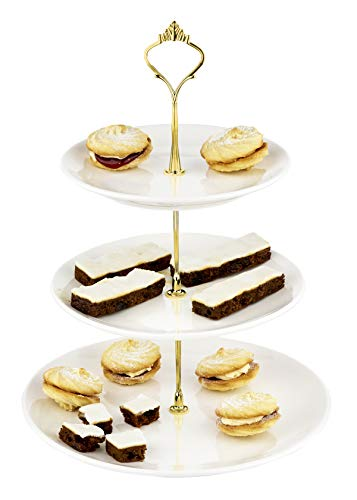 White Ceramic 3 Tier Cake Stand Porcelain Round Display with Gold Fittings and Extra Silver Fittings Included